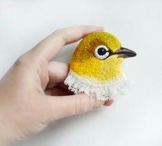 yellow . bird . brooch . handmade . felt . needle by cOnieco, zł250.00