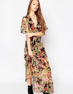 Image 1 of ASOS Flutter Sleeve Maxi Dress in Floral Print