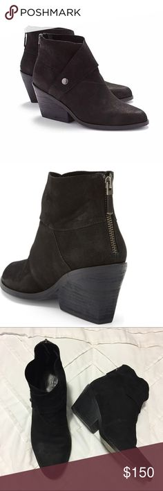 "Eileen Fisher Booties A polished stud details the chic strapped overlay of a streetwise leather bootie styled with an almond toe and stacked heel. 2 3/4"" heel; 4"" boot shaft . Lightly worn. Eileen Fisher Shoes Ankle Boots & Booties"