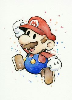 geek art Mario Watercolor - Nintendo Art Print Giclee ART PRINT of my original watercolor and Copic pen painting of Mario from my favorite Nintendo video-game. - High quality archival pigment inks - prints: on cotton fine art paper - 13 Watercolor Tatto, Watercolor Portraits, Watercolor Paintings, Drawing Portraits, Watercolor Paper, Painting Art, Painting Walls, Watercolor Design, Painting Furniture