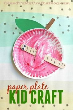 Pappteller Apple w / Popsicle Stick Worm - Kid Craft Idee Paper Plate Apple w/Popsicle Stick Worm - September Crafts, September Preschool, Worm Crafts, Glue Crafts, Stick Crafts, Fruit Crafts, Science Crafts, Resin Crafts, Back To School Kids