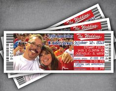 Baseball Wedding Invitation Ticket and RSVP Set / Sports Theme Tickets with RSVP Cards / Cardinals Rangers Printed or PDF Printable Template Ticket Invitation, Wedding Invitation Sets, Invite, Baseball Invitations, Sports Wedding, Football Wedding, Bar Mitzvah Themes, Photo Magnets, Rsvp