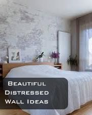 DIY Distressed wall ideas: Antiquing with glaze.  This works especially good on textured walls.  Using 1 part paint to 4 parts antiquing glaze, brush on walls and squeegee the excess off.  This leaves only the glaze color in the lines and divots of the wall.