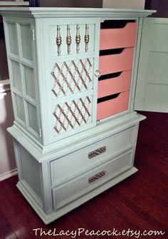Tall Hollywood Regency Seafoam and Coral Dresser
