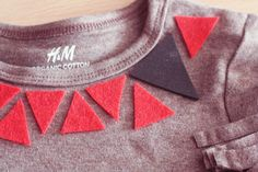 What a great way to customise clothing! All you need is scissors, felt and fabric glue..