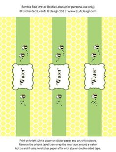 Bumble Bee Water Bottle Labels (yellow, green, black and white) - Printable