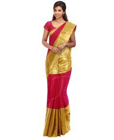 Dual tone soft kancheepuram silk saree