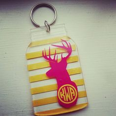 Check out this item in my Etsy shop https://www.etsy.com/listing/221995888/mason-jar-shaped-deer-monogram-keychain