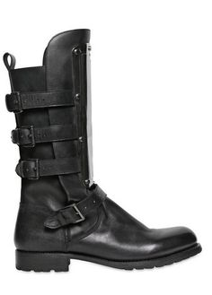 DSquared2 30mm Leather Boots with Metal Plaque