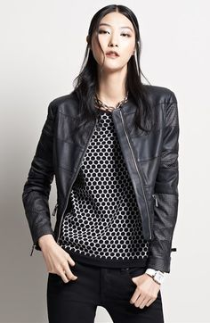 Vince Camuto Collarless Perforated Stripe Faux Leather Jacket available at #Nordstrom