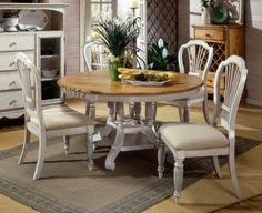 Hillsdale Furniture Wilshire White 5-Piece Round Dining Set with Side Chairs by Hillsdale Furniture. $1417.57. The Hillsdale Furniture Wilshire White 5-Piece Round Dining Set with Side Chairs is a roundoval dining table set that will absolutely impress you with its beauty The Hillsdale Furniture Wilshire White Round Dining Set features a blend of cottage styling with country accented details Accompanied of four to six chairs this set will be an eye catcher in an...