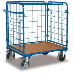 GTARDO.DE:  Paket-Dreiwandwagen mit Gitter, Tragkraft 400 kg, Ladefläche 850 x 500 mm, Maße 1039 x 527 x 1176 mm, Rad 160 mm 227,00 €