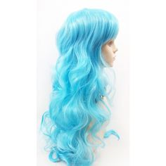 Long 25 Inch Wavy Light Blue Color Wig With Bangs Sky Blue Anime... ($40) ❤ liked on Polyvore featuring bath & beauty, hair care, light blue, wigs, cosplay halloween costumes, animal halloween costumes, animal costumes, role play costumes and blue halloween costume