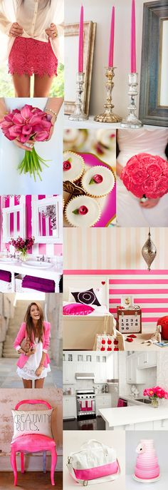 Hot Pink + White stripped wall, mirrors and chandilier 4 Alyssa's room?