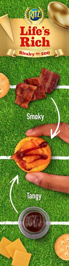 A little smoky bacon? A little tangy BBQ sauce? A perfect pairing! Relish the bold flavor of Cheesy BBQ Bacon Toppers at your next football party. This easy recipe is the ultimate, savory game time snack: 1. Top RITZ Crackers w/ cheddar cheese & bacon pieces 2. Microwave until the cheese begins to melt 3. Drizzle the tops w/ BBQ sauce & serve hot. Enjoy at kickoff!