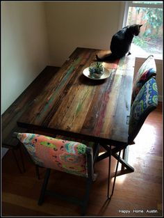 Please read before purchasing this listing.  This listing is for a CUSTOM made- to-order dining table made from high quality reclaimed wood (similar to the one in the pictures) with metal legs. I can make your table any size and color youd like! I use paint to enhance the grain of the wood, and no two tables are alike. Accordingly, I can not recreate something I have already done. Measurements at this price point would be up to 60x30. These dimensions can be adjusted according to your…