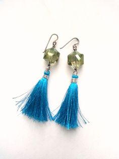Teal Sage Crystal And Tassel Earrings Sterling by TamiLopezDesigns