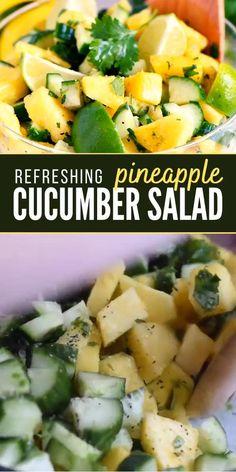 Cucumber Recipes, Summer Salad Recipes, Healthy Salad Recipes, Healthy Snacks, Vegetarian Recipes, Healthy Eating, Cooking Recipes, Recipe For Cucumber Salad, Cucumber Ideas
