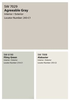 These farmhouse neutral paint colors are my favorite! They're perfectly subtle - Agreeable Grey, Alabaster, and Filmy Green. These farmhouse neutral paint colors are my favorite! They're perfectly subtle - Agreeable Grey, Alabaster, and Filmy Green. Green Paint Colors, Neutral Paint Colors, Bedroom Paint Colors, Exterior Paint Colors, Exterior House Colors, Paint Colors For Home, Wall Colors, Gray Color, Color Walls