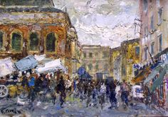 452 - Livorno - Mercato Centrale - 35 x 50 Italian Market, Painting, Art, Art Background, Painting Art, Kunst, Paintings, Performing Arts, Painted Canvas