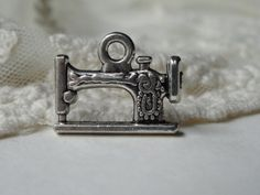 5 Silver 3D Sewing Machine Charms Metal Sewing Pendants by BuyDiy, $3.99