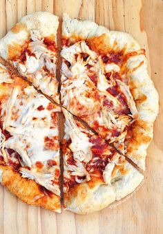 BBQ Chicken Pizza Recipe. Mmm, shredded chicken on a homemade pizza, looks so good. That crust, oh my!