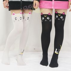 Can not stop screaming when I see these tights! Aren't they too kawaii to death???  Do not hesitate now, take both of them home right away, take them to the shopping chart now, meowwwww~  Free shipping worldwide!  For seasons: spring/ summer/ autumn/ winter  These tights are made of Cotton nylon and spandex.  Color options: Black Luna/ White Artemis  Size suggestion: *Suggest for height of 145-165 CM *Suggest for weight within 50 KG  Special Note:  Be careful with your finger nail when put…
