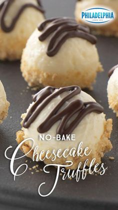 Small but full of delicious flavor, these No-Bake Cheesecake Truffles are smooth and sweet. They're coated with BAKER'S Semi-Sweet Chocolate, rolled in PHILADELPHIA Cream Cheese and dipped in crushed graham crackers. Kraft Recipes, Candy Recipes, Sweet Recipes, Holiday Recipes, Cookie Recipes, Dessert Recipes, Quick Recipes, Just Desserts, Delicious Desserts