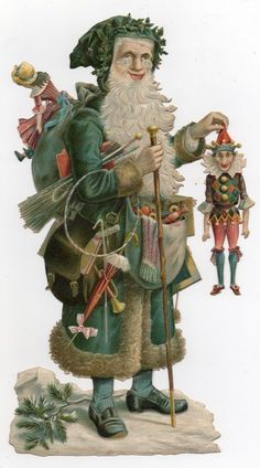 Victorian Christmas, Retro Christmas, Vintage Christmas Cards, Vintage Holiday, Christmas Art, Vintage Santa Claus, Vintage Santas, Holiday Images, Christmas Images