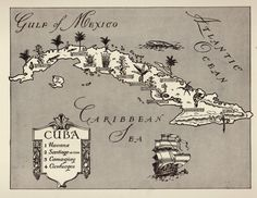Charming CUBA Map of Cuba  WHIMSICAL Black and by plaindealing