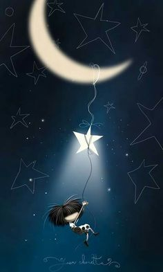 Puro pelo noches stars and moon, look at the stars, luna moon, good Sun Moon Stars, Sun And Stars, Look At The Stars, Fran Fine, Moon Magic, Beautiful Moon, Cute Little Things, Moon Art, Cute Illustration