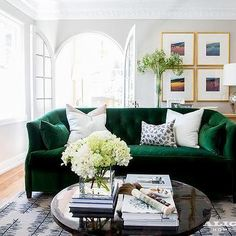 Emerald Green Velvet Sofa With Black Coffee Table Couches