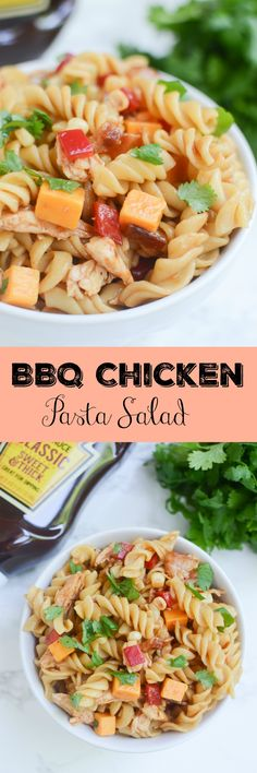 BBQ Chicken Pasta Salad - perfect for potlucks and barbecues! Pasta, chicken, cheddar cheese, bell peppers, corn, and bacon all tossed with barbecue sauce! So easy and so delicious!