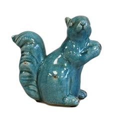 Nutty Squirrel - Teal in Pottery, Porcelain & Glass > Ceramics > Animals