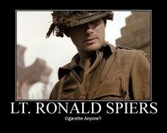 Spiers - Band of Brothers. Oh snap! Very favorite character. I think. Well may be a tie. Matthew Settle oh why did you have to go from this to Gossip Girl?