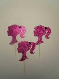 Pink Glitter Barbie Cupcake toppers Set of 12 Barbie Theme Party, Barbie Birthday Party, Doll Party, Princess Birthday, Party Themes, Birthday Parties, 5th Birthday, Barbie Cupcakes, Kids Spa Party