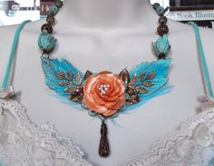 Verdigris Brass Feather Rose Magnesite Czech by MockiDesigns, $81.00