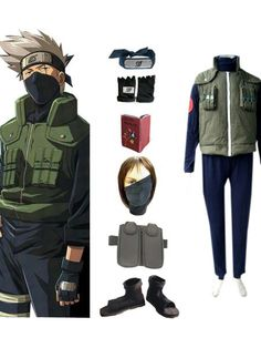 Naruto Katake Kakashi Deluxe Men's Cosplay Costume and Accessories