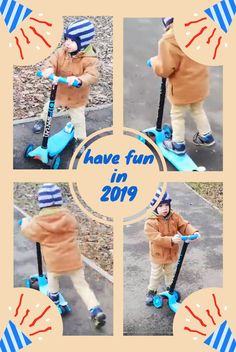 day in 2019 and Matti already started working on his list of goals: learn to ride a 3 Wheel Kids Scooter Goal List, Kids Scooter, 1st Day, 3rd Wheel, In 2019, Toddler Activities, Toddlers, Have Fun, Goals