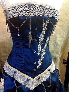 blue steam punk corset on Wish This would be so perfect of a TARDIS cosplay Gothic Steampunk Corset Dress, Costume Steampunk, Mode Steampunk, Style Steampunk, Victorian Steampunk, Steampunk Clothing, Steampunk Fashion, Steampunk Female, Steampunk Outfits