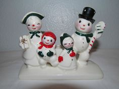 Vtg 50's Christmas Ceramic Snowman Family Candle Holder Figure Japan Holt Howard