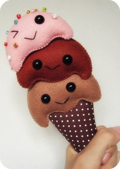 super cute kawaii mini figure for toy or brooch love the winking scoop , you cheeky boy Felt Ice Cream Cone
