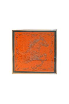 Framed & Mounted Orange Hermes Horse Scarf, 39x39, Available Now: http://www.thevintagetwin.com/shop/products.cgi?sku=10163&sex=