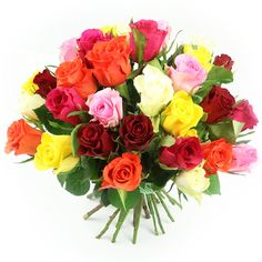 Your soul mate will be over the moon with this stunning bouquet made up of colourful roses! Send a bouquet that is just like the tropical sunsets! Flowers Today, Order Flowers, Summer Flowers, Orange Roses, White Roses, Pink Roses, Early May Bank Holiday, Congratulations Flowers, Flower Packaging