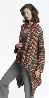 crochet cardigan- I would do mine in a solid color or maybe with a single stripe. The thing I love about this pattern is that you can make it as long or as short as you like and it looks really easy!