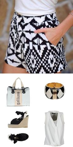 #summer #outfit with pattern shorts matched with #galliano bag and # moschino bracelet  Shop this look at http://www.jaqard.com/viewcombi.php?combi=53abeab9095a1e1453b9fb9e