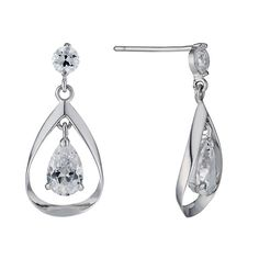 9ct White Gold Double Cubic Zirconia Drop Earrings - Product number 1109596 H Samuel