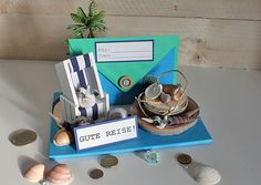 Gutscheine - Karte Gute Reise, Urlaub, Strandkorb für Geld o... - ein Designerstück von Kleinigkeiten-von-NB bei DaWanda