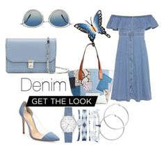 A fashion look from June 2017 featuring Tommy Hilfiger, denim heels pumps and white tote. Browse and shop related looks. Melissa Odabash, Oliver Peoples, Pointed Toe Pumps, Get The Look, Blue Dresses, Marc Jacobs, Tommy Hilfiger, Valentino, Fashion Looks