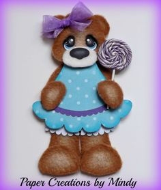 ELITE4U Candy Fleece Tear Bear premade paper piecing scrapbooking page blue ~ DT Mindy